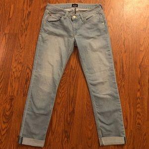 Hudson Light Wash Bacara Straight Flood Cuff Jeans